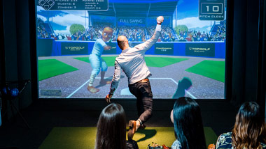 throwing ball in Topgolf Swing Suite