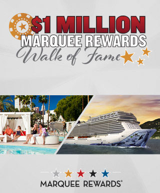 """$1 Million Marquee Rewards Walk of Fame"" on a gray background with pictures of the Tropicana Pool and a Norwegian Cruise Line ship below it."