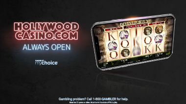 "dark background with smart with slot app open and text ""HollywoodCasino.com always open"""