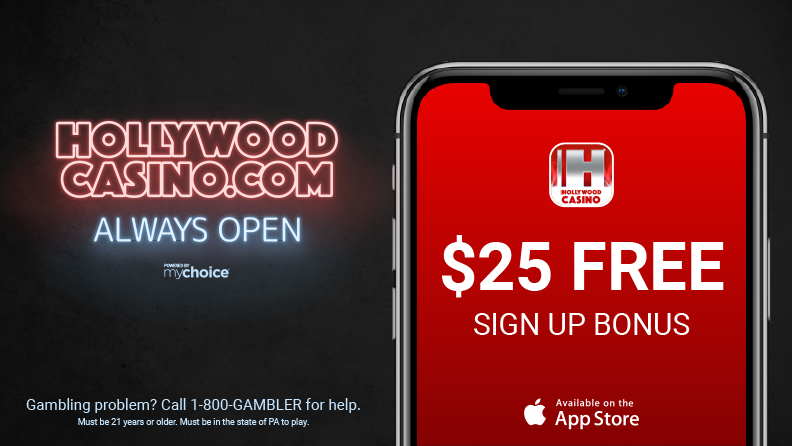 "dark background, neon light that says ""Hollywood Casino.com always open"" and a smartphone with the hollywoodcasino.com logo, text ""$25 Free Sign Up Bonus"" and apple app store logo"