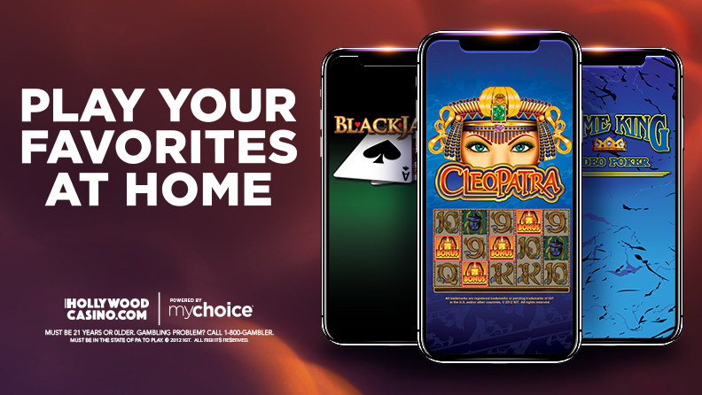 "3 smartphones with different game screens, text: ""Play Your Favorites At Home"", Hollywoodcasino.com logo and mychoice logo, text:""Must be 21 years or older. Gambling Problem 1-800-GAMBLER. Must be in the state of PA to Play. ©2012 IGT All rights reserved."